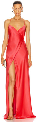 Mason by Michelle Mason Strappy Wrap Gown in Punch | FWRD