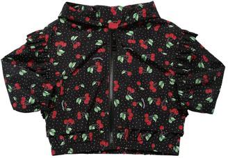 MonnaLisa Cherry Printed Nylon Jacket W/ Hood