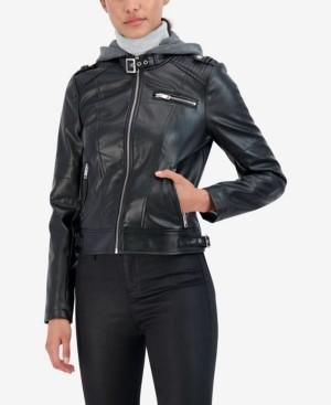 Sebby Junior's Faux Leather Detachable Hood Faux Fur Lined Moto Jacket