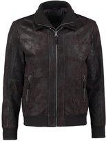 Tom Tailor Leather Jacket Olive/brown
