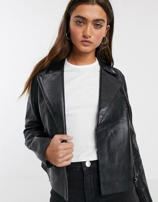 Pepe Jeans Liana soft leather biker jacket-Black