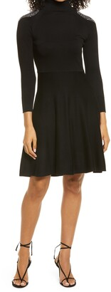 Eliza J Turtleneck Long Sleeve Fit & Flare Sweater Dress