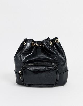 New Look croc drawstring back pack in black