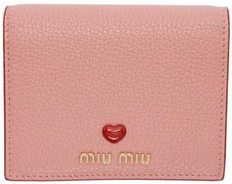Miu Miu Pink Pebbled Love Wallet