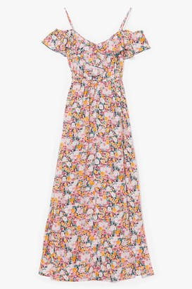 Nasty Gal Womens vintage floral ruffle maxi dress - Pink - 8