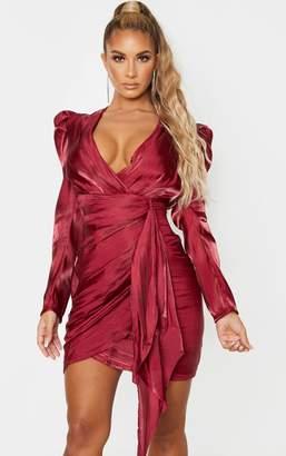 PrettyLittleThing Burgundy Shimmer Satin Drape Pleat Detail Bodycon Dress