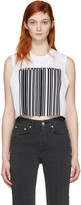 Alexander Wang White Cropped Barcode Tank Top