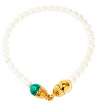 Timeless Pearly Pearl, Malachite & 24kt Gold-plated Choker - Green Gold