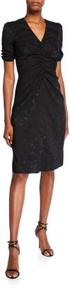 Jill Stuart Ruched V-Neck Short-Sleeve Jacquard Dress