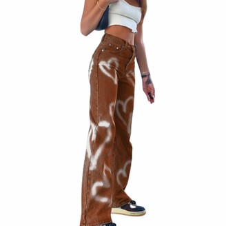 Erllegraly Jeans Womens Y2K Style High-Waist Straight Wide Leg Heart Printed Loose Vintage Trousers - Blue - S