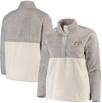 Women's Gray/Cream Purdue Boilermakers Plus Size Fuzzy Fleece Colorblocked Four-Snap Pullover Jacket