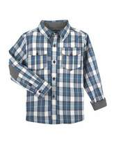 Andy & Evan Patch-Elbow Plaid Shirt, Size 2-7