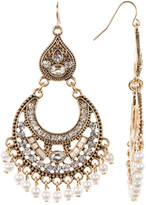 Natasha Accessories Glitz Faux Pearl Chandelier Earrings