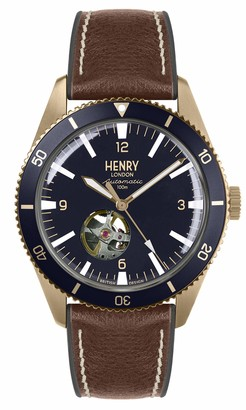 Henry London Mens Skeleton Automatic Watch with Silicone Strap HL42-AS-0334