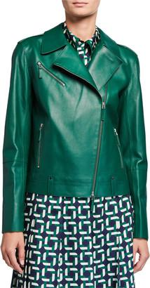 Lafayette 148 New York Bernice Plonge Lambskin Moto Jacket