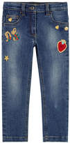 Dolce & Gabbana Girl slim fit jeans with embroideries