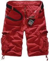 WSLCN Men's Summer Retro Casual Cargo Shorts Multi Pockets
