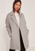 Missguided Grey Drop Shoulder Double Breasted Faux Wool Coat