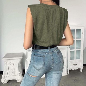 Jiegorge Blouse for Women 2020 Ladies Fashion Solid Sleeveless V-Neck T-Shirt with Shoulder Pad Loose Vest