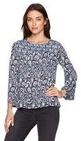 Lucky Brand Women's Mixed Print Smocked Top