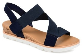 Brinley Co. Womens Elastic Strap Wedge Sandals