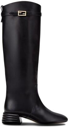 Fendi Knee-High Block Heel Boots