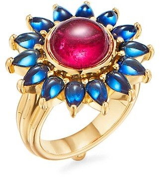 Temple St. Clair Dreamcatcher 18K Yellow Gold, Rubellite & Blue Sapphire Ring