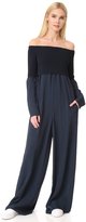 DKNY Long Sleeve Off the Shoulder Jumpsuit