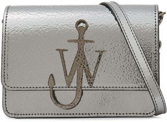J.W.Anderson Logo Metallic Cracked-leather Shoulder Bag