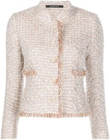 Tagliatore fray trimmed tweed effect fitted jacket