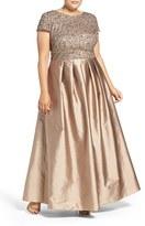 Adrianna Papell Embellished Mesh & Taffeta Ballgown (Plus Size)