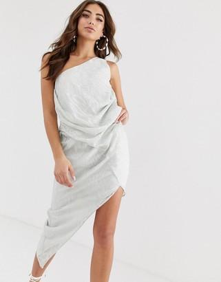 ASOS DESIGN one shoulder drape mini dress in abstract animal jacquard