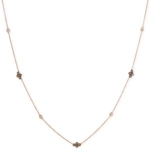 LeVian Le Vian Chocolatier Diamond Cluster & Bezel Adjustable Statement Necklace (3/4 ct. t.w.) in 14k Rose Gold
