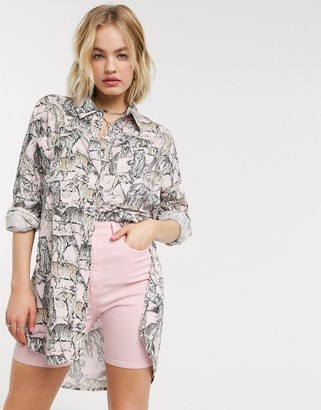 Noisy May oversized shirt in pastel tiger print