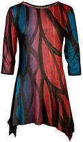 Azalea Red & Blue Abstract-Leaf Sidetail Tunic - Plus Too