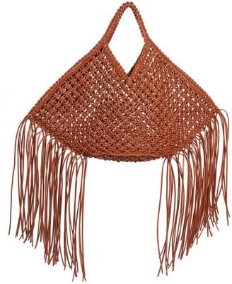 Yuzefi Large Fringe-Trimmed Macrame Basket Bag