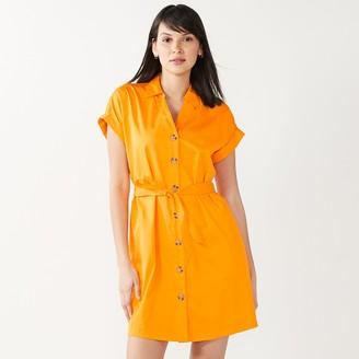 Nine West Women's Short Sleeve Belted Shirt Dress
