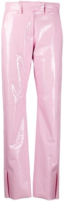 MSGM High-Waist Vinyl Trousers