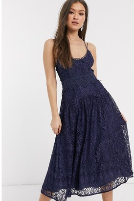 Asos Design DESIGN cami strap midi prom dress in lace with circle trims