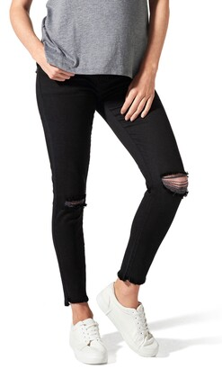 BLANQI Ripped Belly Support Maternity Skinny Jeans