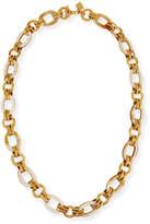 "Ashley Pittman Ikulu Light Horn & Bronze Link Necklace, 36"""