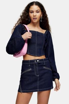 Topshop Womens Considered Indigo Denim Long Sleeve Corset Top - Indigo