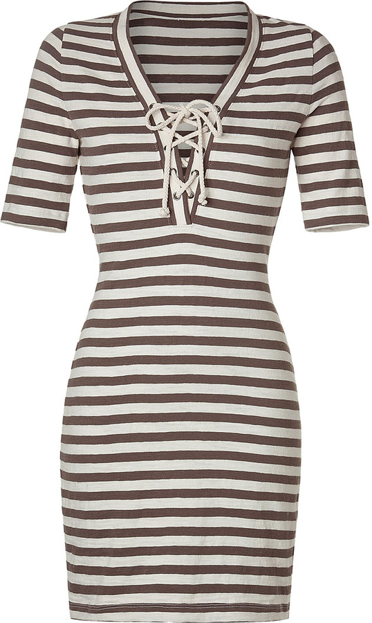 L'Agence LAgence Brown/Ivory Striped Lace Front Dress