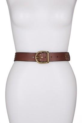 Frye Laser Cut Studded Leather Belt