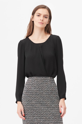 Rebecca Taylor Tailored Silk Double Georgette Wrap Top