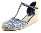 Lauren Ralph Lauren Carolina Open Toe Canvas Wedge Sandal.