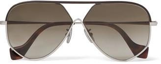 Loewe Aviator-Style Leather-Trimmed Silver-Tone And Tortoiseshell Acetate Sunglasses