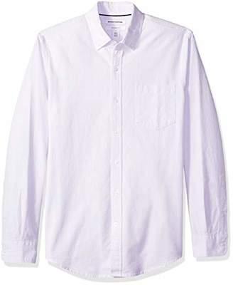 Amazon Essentials Men's Slim-Fit Long-Sleeve Stripe Pocket Oxford Shirt