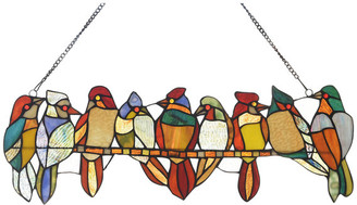 "Chloé Lighting Birds on a Vine Tiffany Animal Design Window Panel 26""x"
