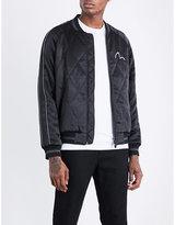 Evisu Fish-embroidered satin bomber jacket